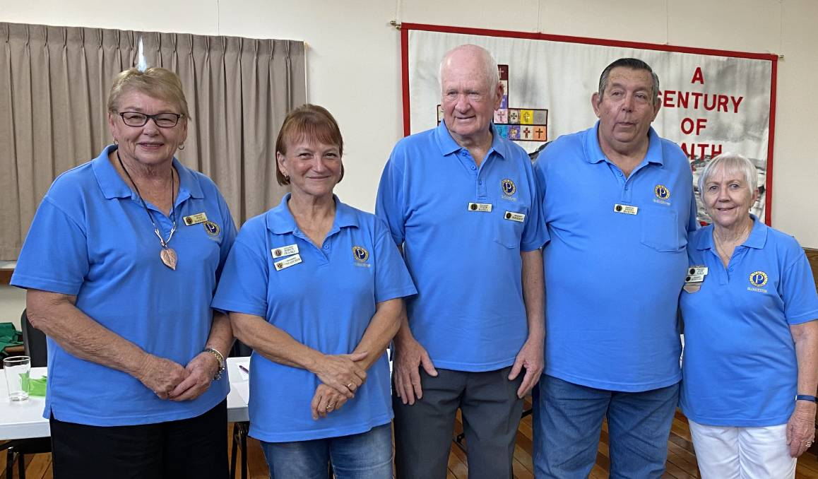 Outgoing Gloucester Probus Club president Joan Harwood with members of the 2021 executive Robyn Franks, Peter Hazell, Dennis Buckton and Judy Earle. Photo supplied
