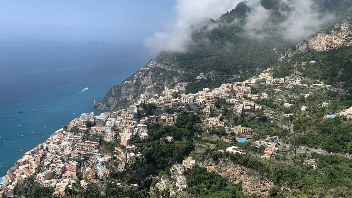 Looking down onto Positano from Montepertuso.