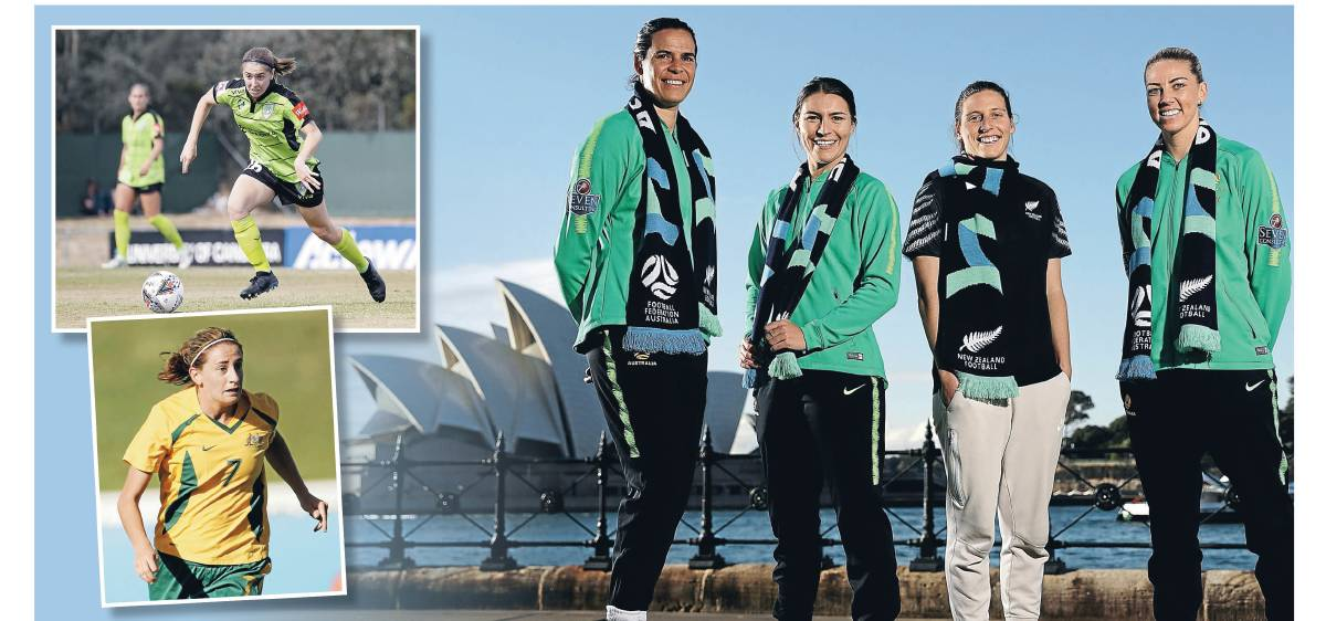 Canberra's Karly Roestbakken, Heather Garriock and Lydia Williams are excited by FIFA's 2023 World Cup announcement. Pictures: Getty, Jamila Toderas